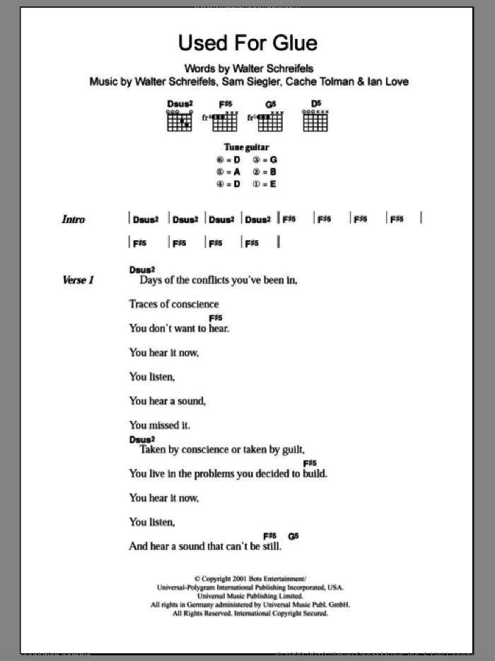 Used For Glue sheet music for guitar (chords) by Walter Schreifels
