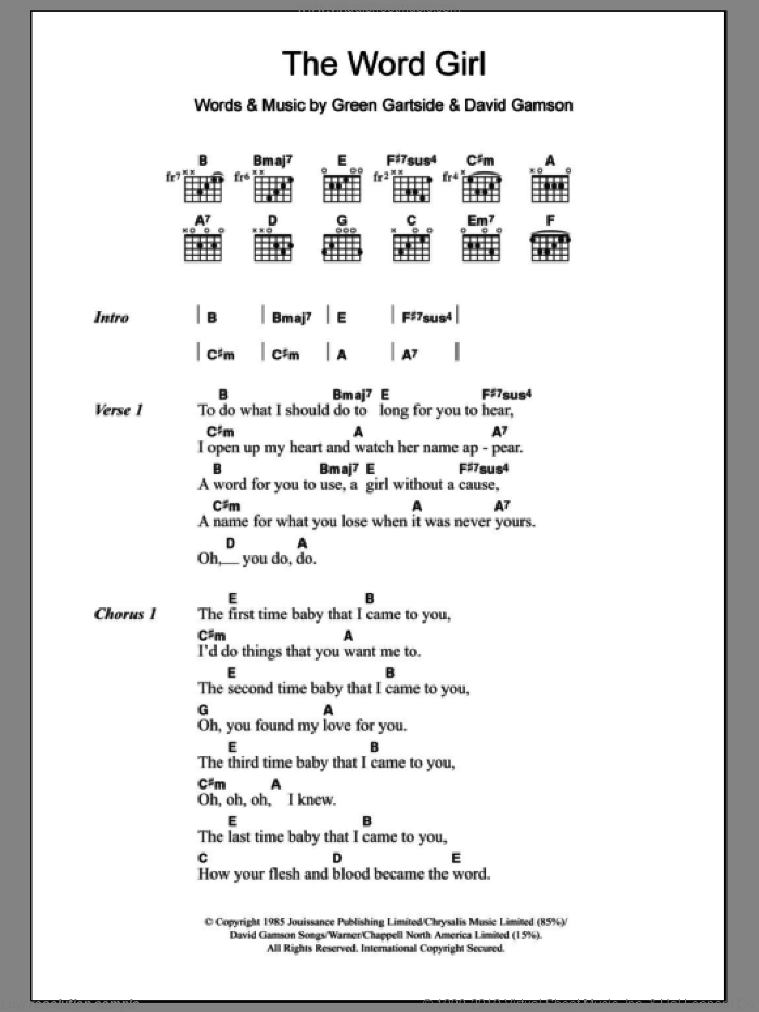 The Word Girl sheet music for guitar (chords, lyrics, melody) by Green Gartside