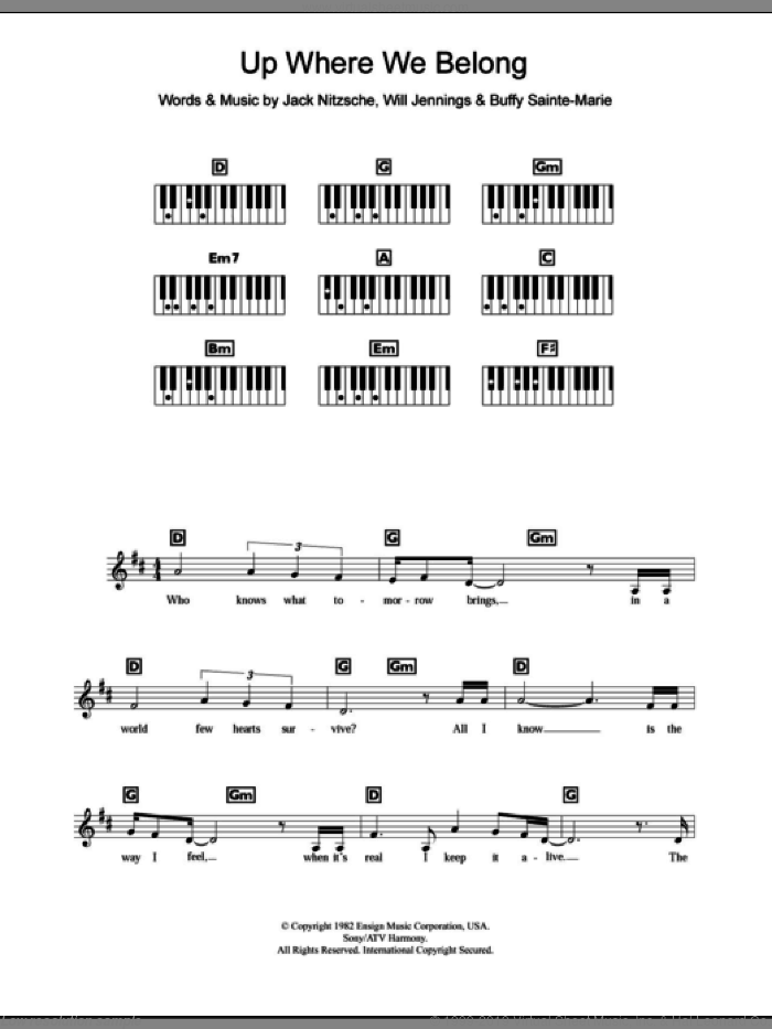 Up Where We Belong sheet music for piano solo (chords, lyrics, melody) by Will Jennings