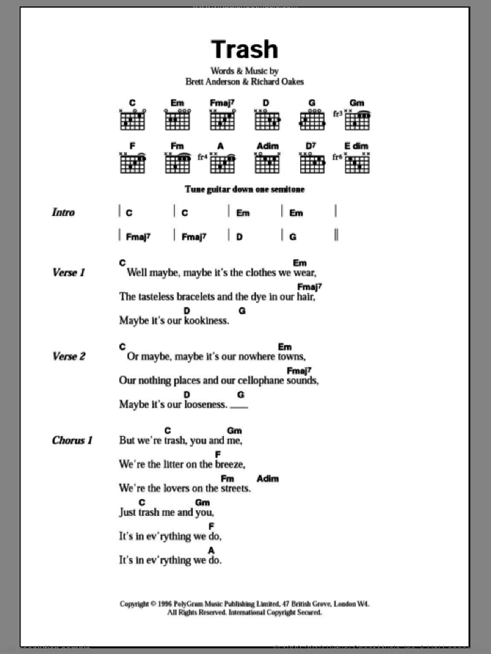 Trash sheet music for guitar (chords) by Richard Oakes, Suede and Brett Anderson. Score Image Preview.