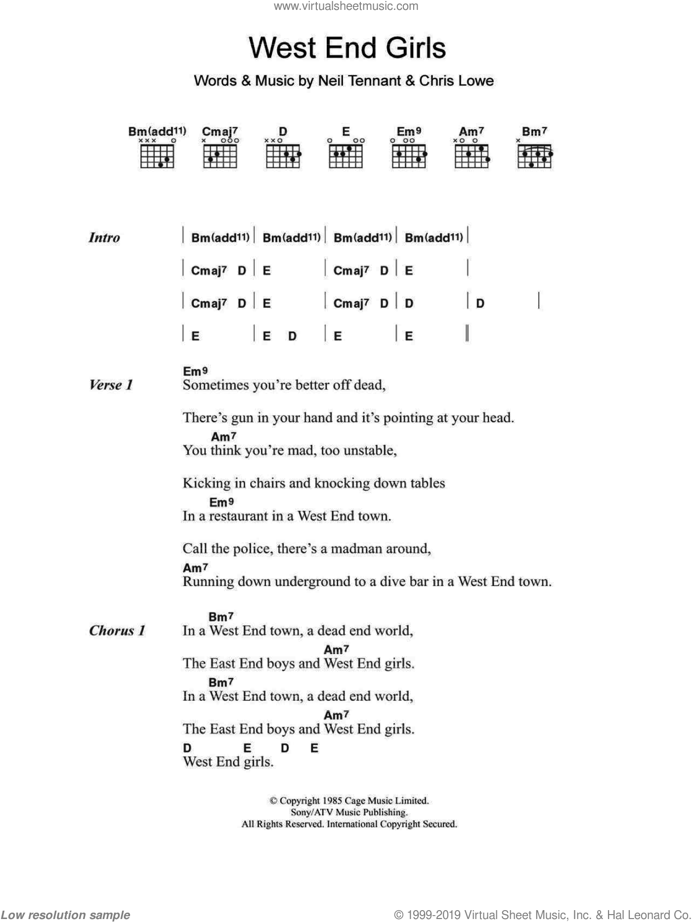 West End Girls sheet music for guitar (chords) by The Pet Shop Boys. Score Image Preview.