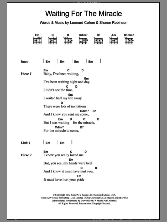 Waiting For The Miracle sheet music for guitar (chords) by Sharon Robinson and Leonard Cohen. Score Image Preview.