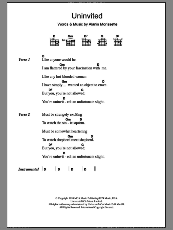 Uninvited sheet music for guitar (chords) by Alanis Morissette. Score Image Preview.