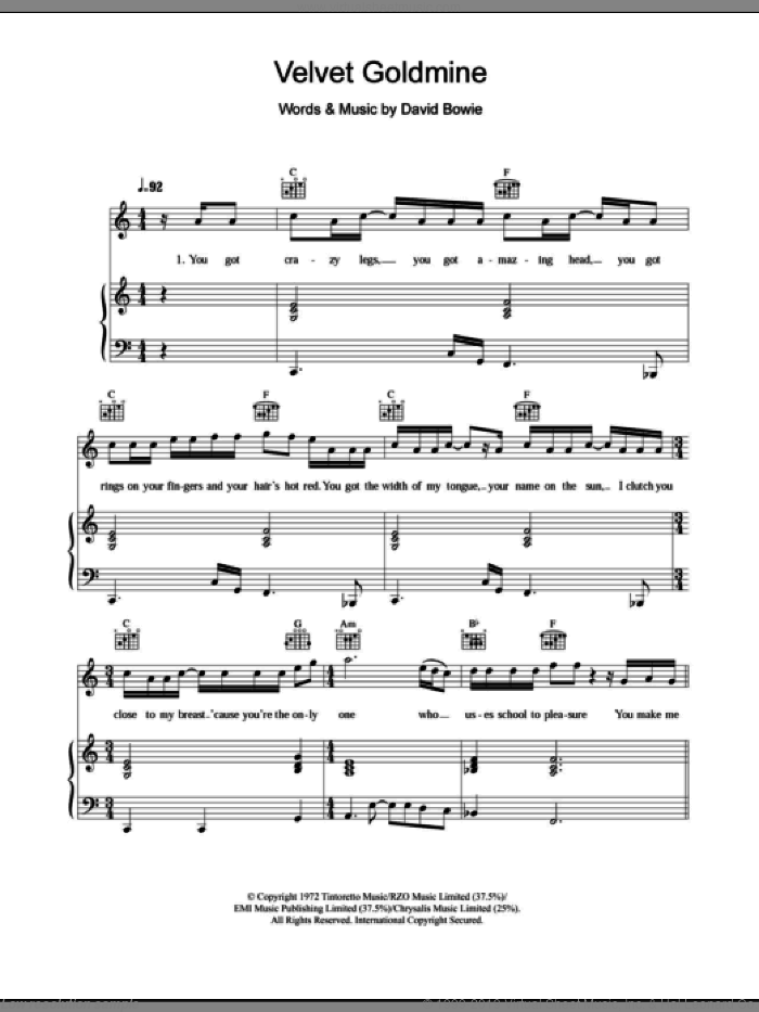 Velvet Goldmine sheet music for voice, piano or guitar by David Bowie, intermediate skill level