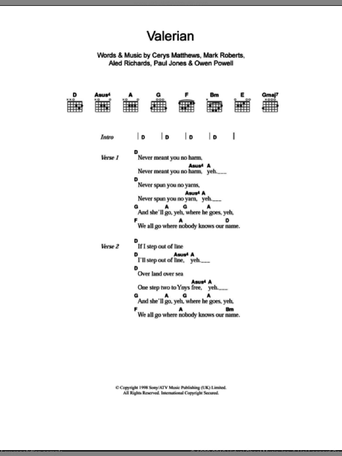 Valerian sheet music for guitar (chords) by Paul Jones, Catatonia, Aled Richards and Mark Roberts. Score Image Preview.