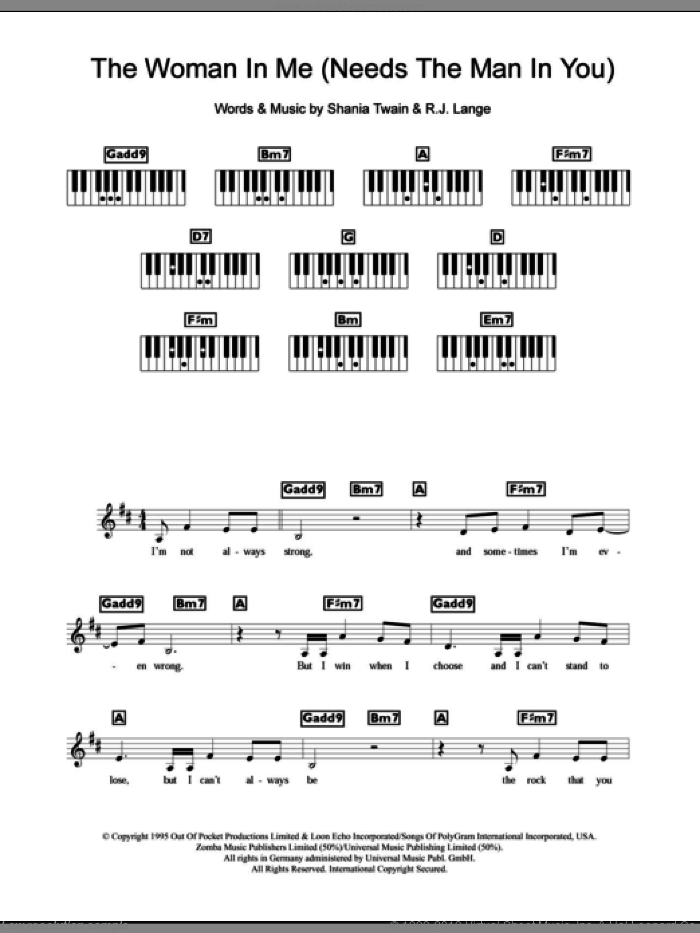 The Woman In Me (Needs The Man In You) sheet music for piano solo (chords, lyrics, melody) by Robert John Lange and Shania Twain. Score Image Preview.