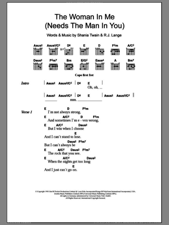 The Woman In Me (Needs The Man In You) sheet music for guitar (chords) by Shania Twain and Robert John Lange, intermediate. Score Image Preview.