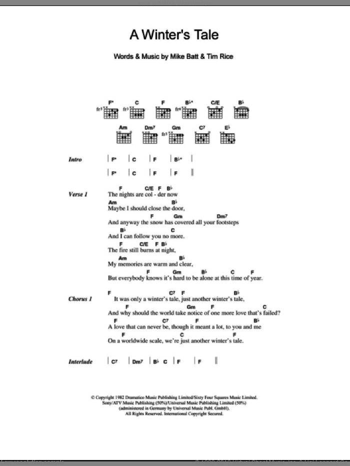 A Winter's Tale sheet music for guitar (chords) by David Essex, Mike Batt and Tim Rice, intermediate. Score Image Preview.
