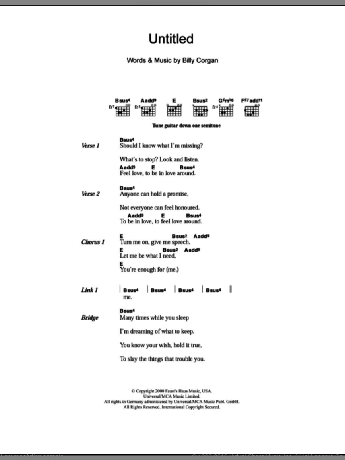 Untitled sheet music for guitar (chords, lyrics, melody) by Billy Corgan