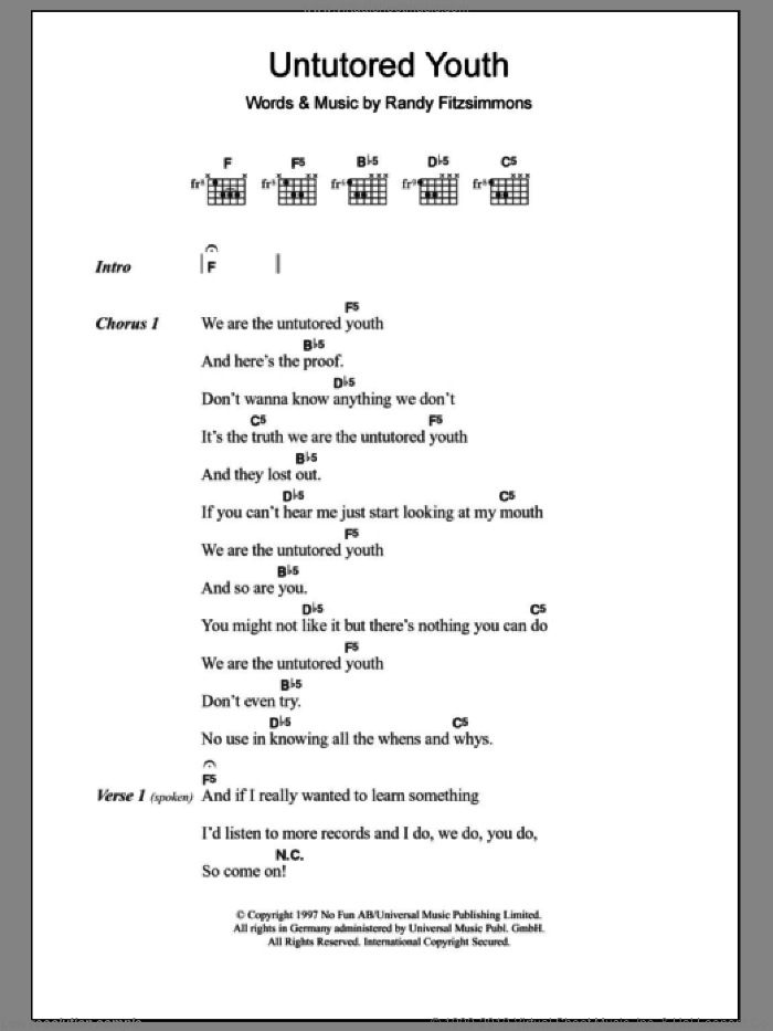 Untutored Youth sheet music for guitar (chords) by The Hives, intermediate guitar (chords). Score Image Preview.