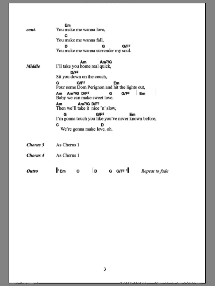 U Make Me Wanna sheet music for guitar (chords) by John McLaughlin and Miscellaneous