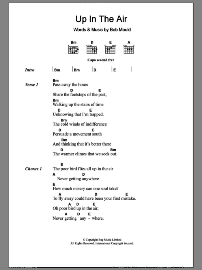 Up In The Air sheet music for guitar (chords, lyrics, melody) by Bob Mould