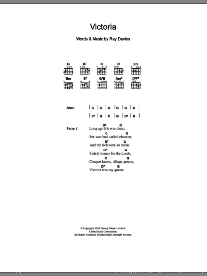 Victoria sheet music for guitar (chords) by The Kinks and Ray Davies, intermediate