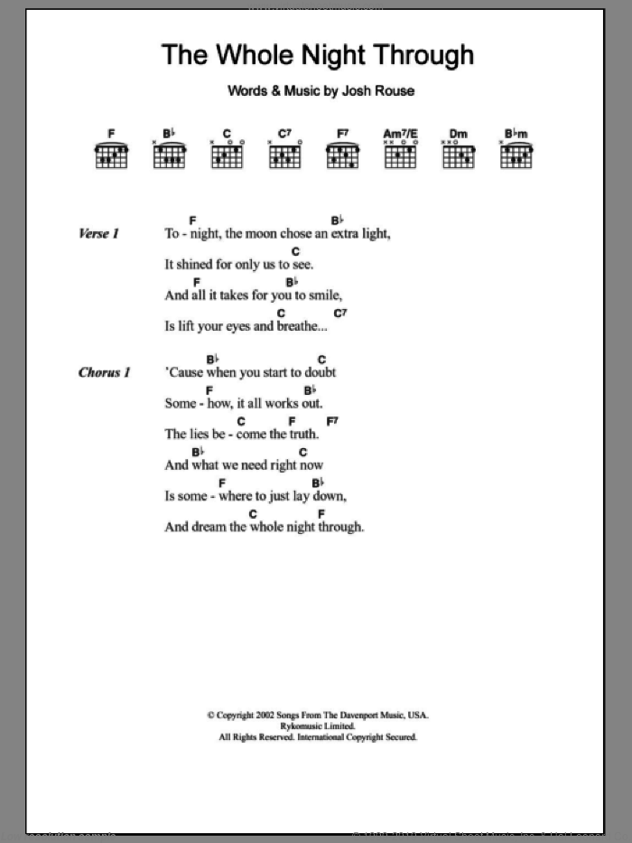 The Whole Night Through sheet music for guitar (chords) by Josh Rouse