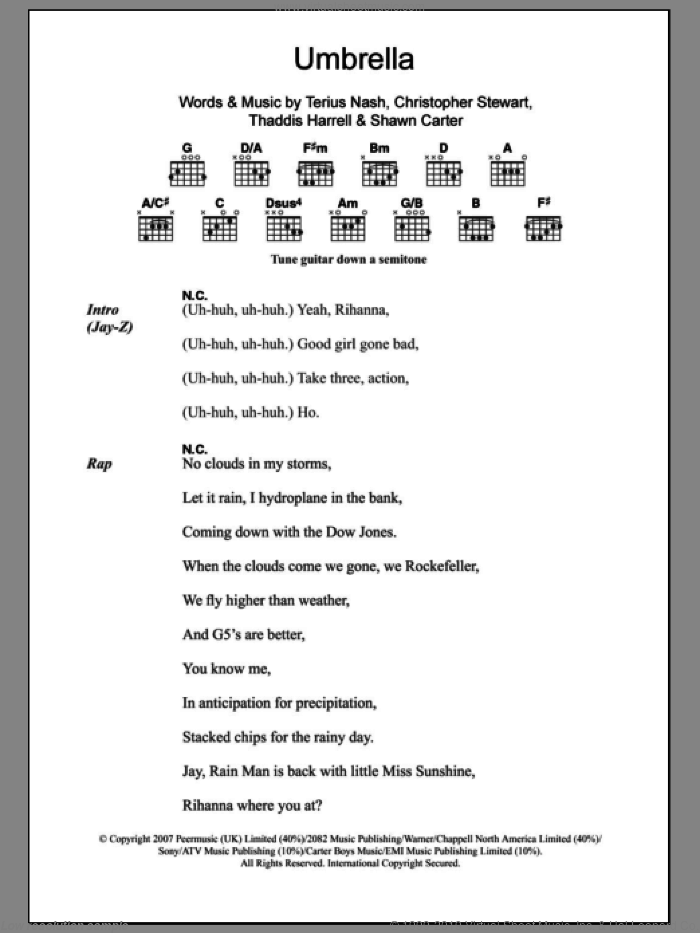 Umbrella sheet music for guitar (chords) by Rihanna featuring Jay-Z, Rihanna, Christopher Stewart, Shawn Carter, Terius Nash and Thaddis Harrell