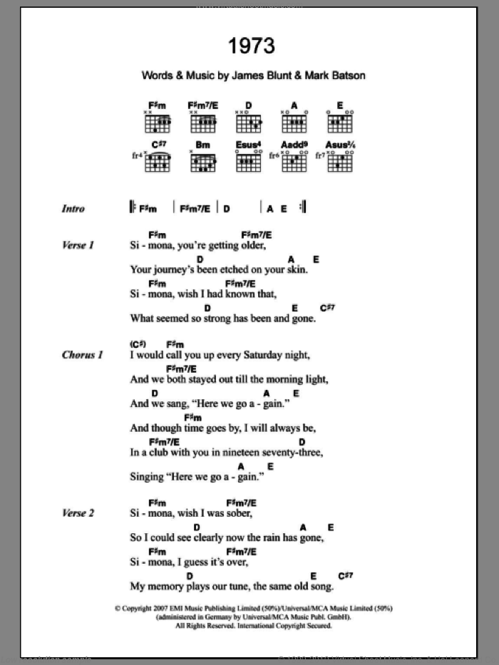 1973 sheet music for guitar (chords) by Mark Batson and James Blunt
