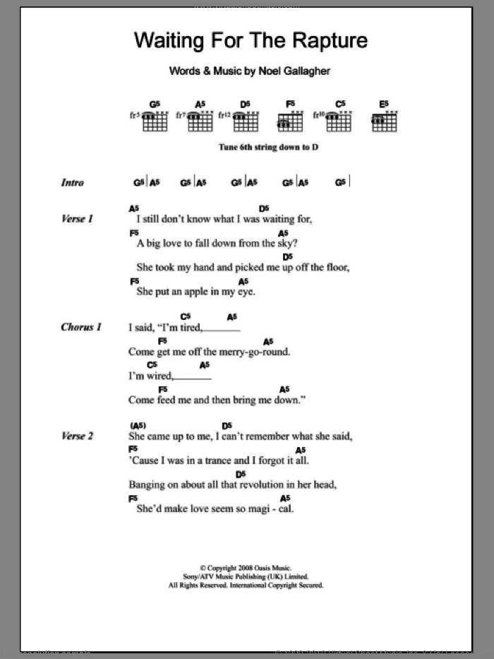 Waiting For The Rapture sheet music for guitar (chords) by Oasis and Noel Gallagher. Score Image Preview.