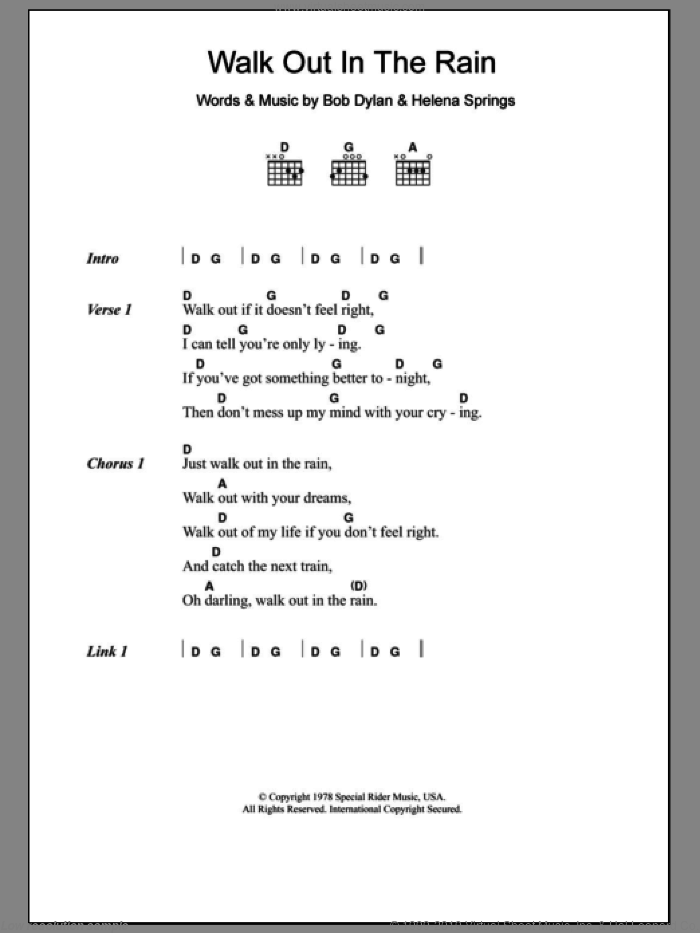 Clapton - Walk Out In The Rain sheet music for guitar (chords)
