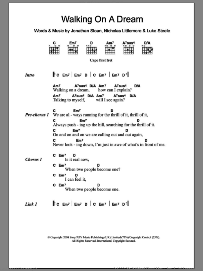 Walking On A Dream sheet music for guitar (chords) by Nicholas Littlemore, Jonathan Sloan and Luke Steele. Score Image Preview.