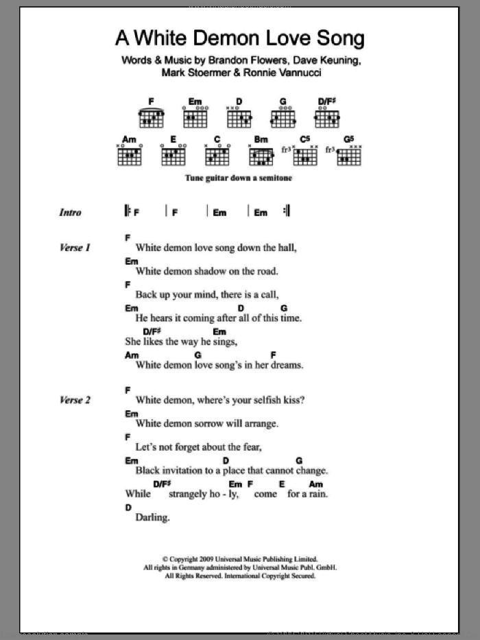 A White Demon Love Song sheet music for guitar (chords) by Ronnie Vannucci