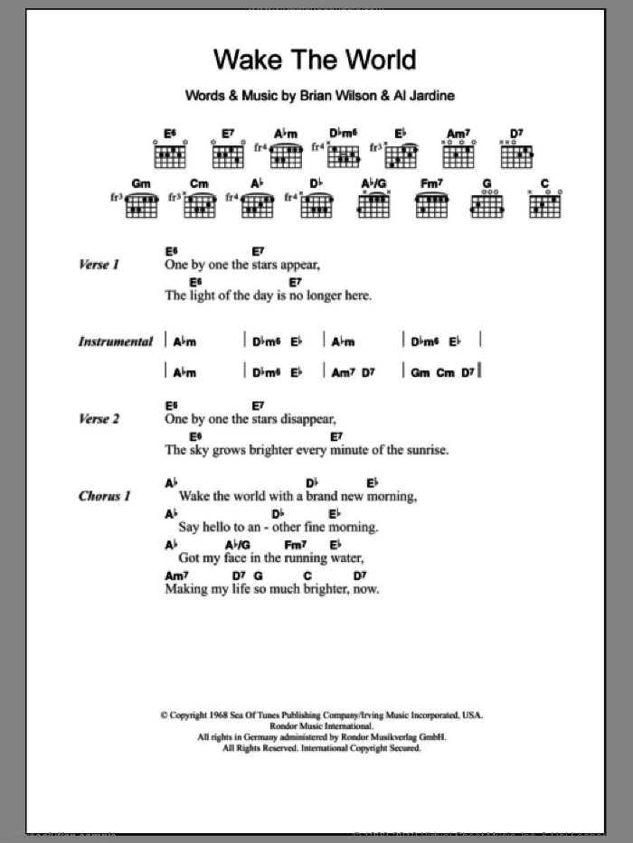 Wake The World sheet music for guitar (chords) by Brian Wilson and The Beach Boys. Score Image Preview.
