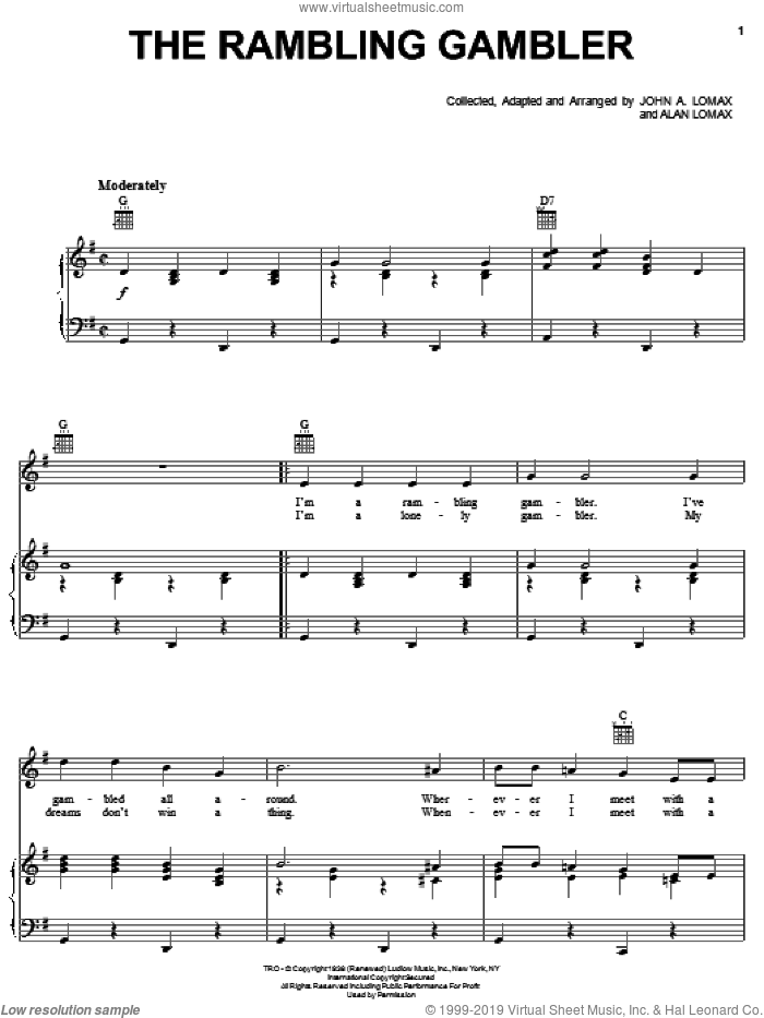 The Rambling Gambler sheet music for voice, piano or guitar by John A. Lomax. Score Image Preview.