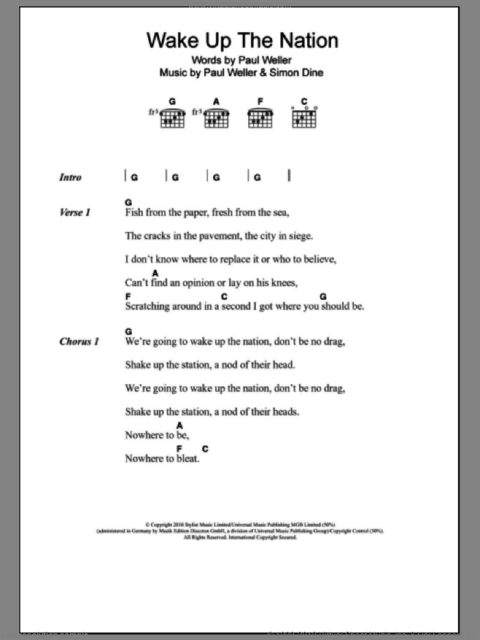 Wake Up The Nation sheet music for guitar (chords) by Paul Weller. Score Image Preview.