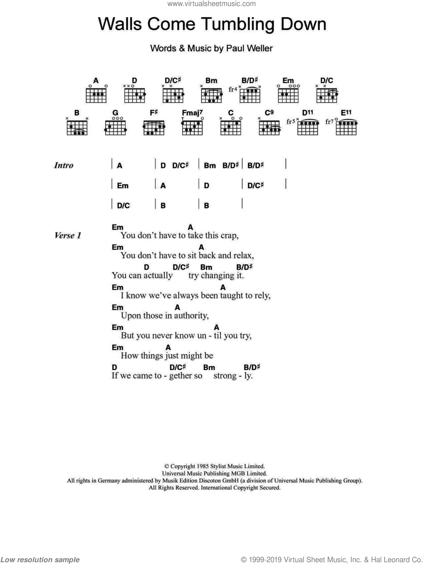 Walls Come Tumbling Down sheet music for guitar (chords) by The Style Council and Paul Weller, intermediate. Score Image Preview.