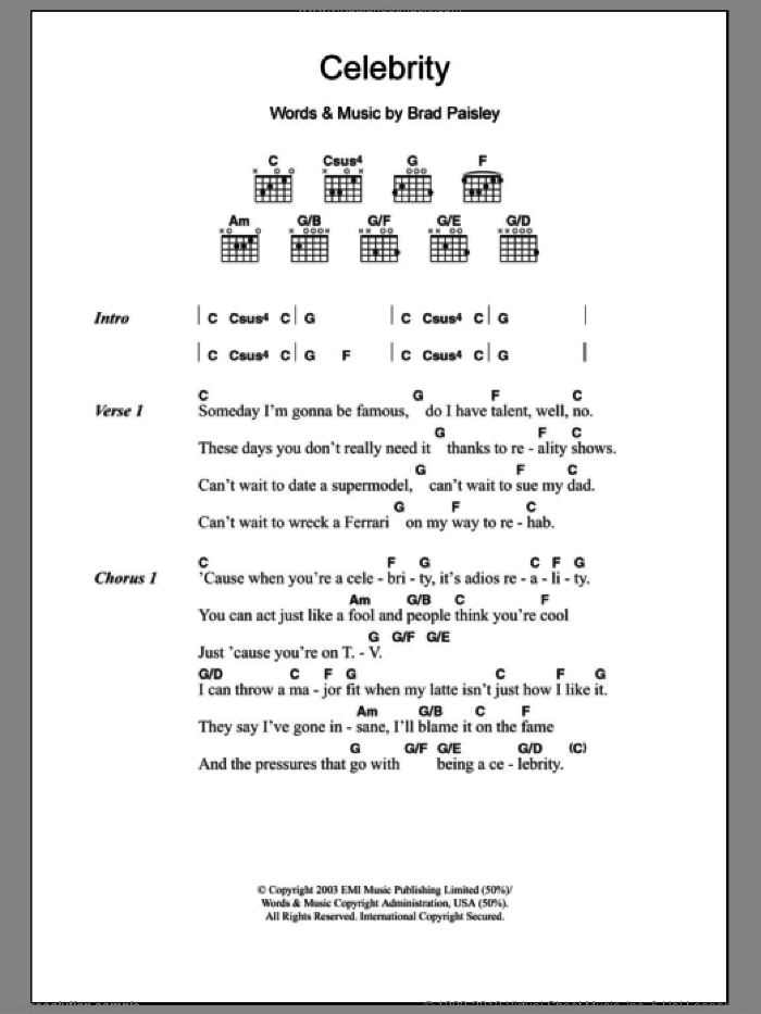 Celebrity sheet music for guitar (chords) by Brad Paisley, intermediate skill level