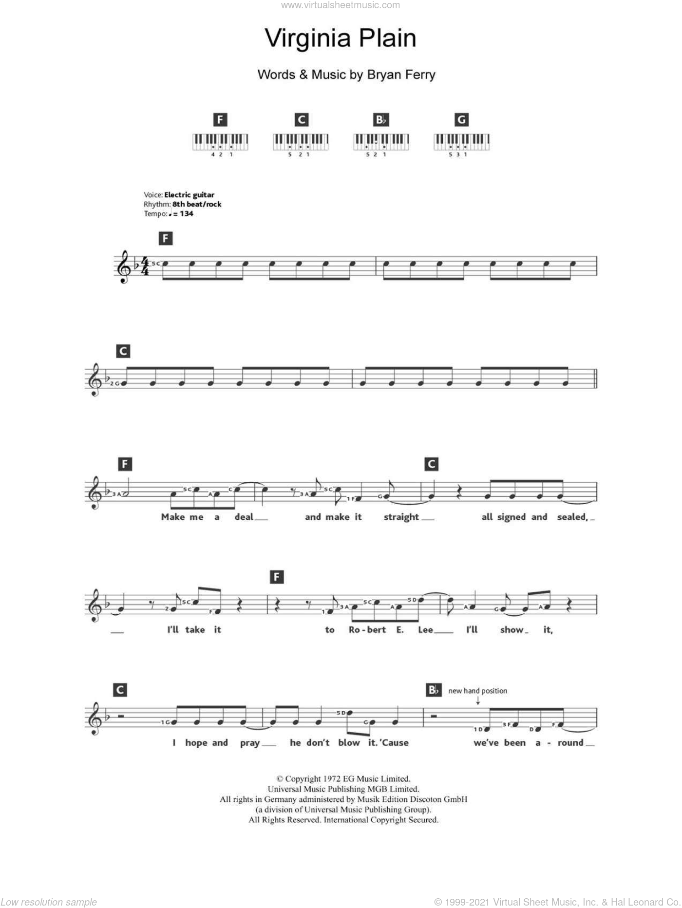 Virginia Plain sheet music for piano solo (chords, lyrics, melody) by Bryan Ferry and Roxy Music. Score Image Preview.