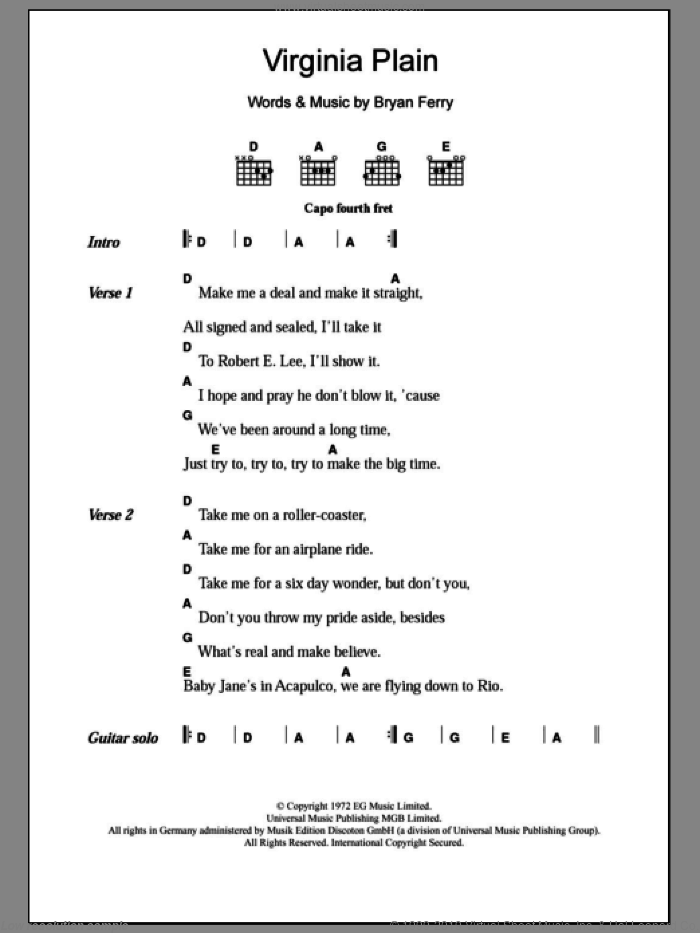 Virginia Plain sheet music for guitar (chords) by Bryan Ferry and Roxy Music. Score Image Preview.