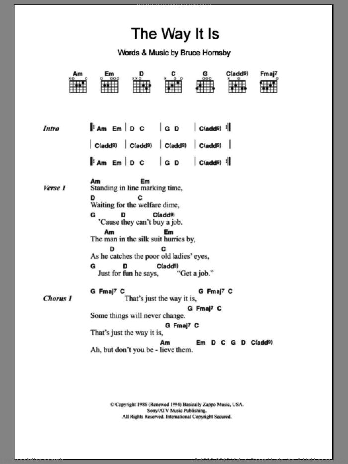The Way It Is sheet music for guitar (chords) by Bruce Hornsby, intermediate skill level