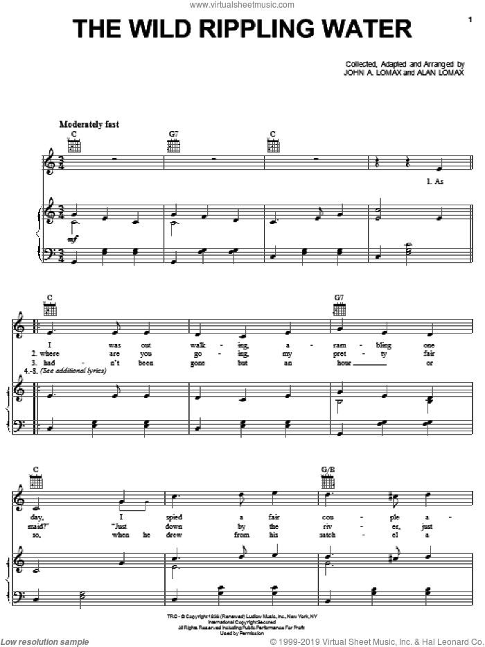 The Wild Rippling Water sheet music for voice, piano or guitar by John A. Lomax, intermediate skill level