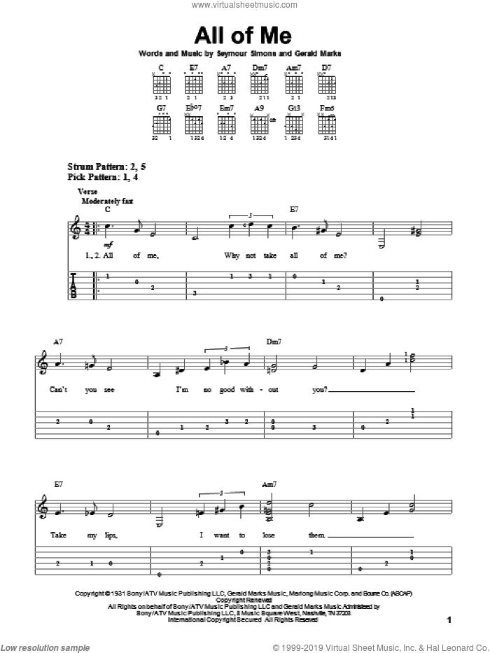 All Of Me sheet music for guitar solo (easy tablature) by Seymour Simons
