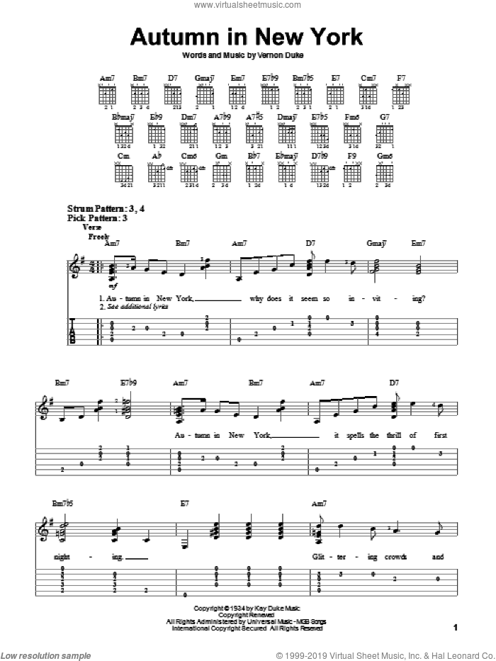 Autumn In New York sheet music for guitar solo (easy tablature) by Vernon Duke