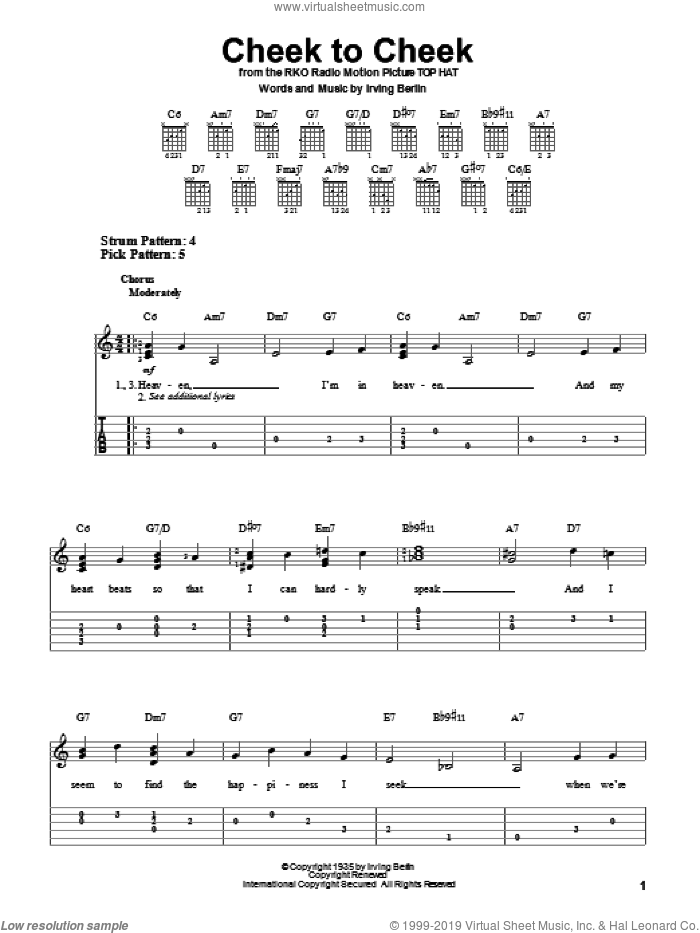 Cheek To Cheek sheet music for guitar solo (easy tablature) by Irving Berlin and Fred Astaire, easy guitar (easy tablature)