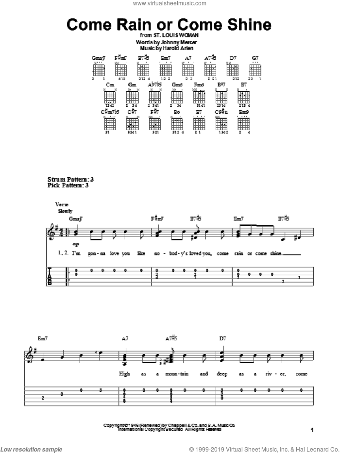 Come Rain Or Come Shine sheet music for guitar solo (easy tablature) by Harold Arlen and Johnny Mercer. Score Image Preview.