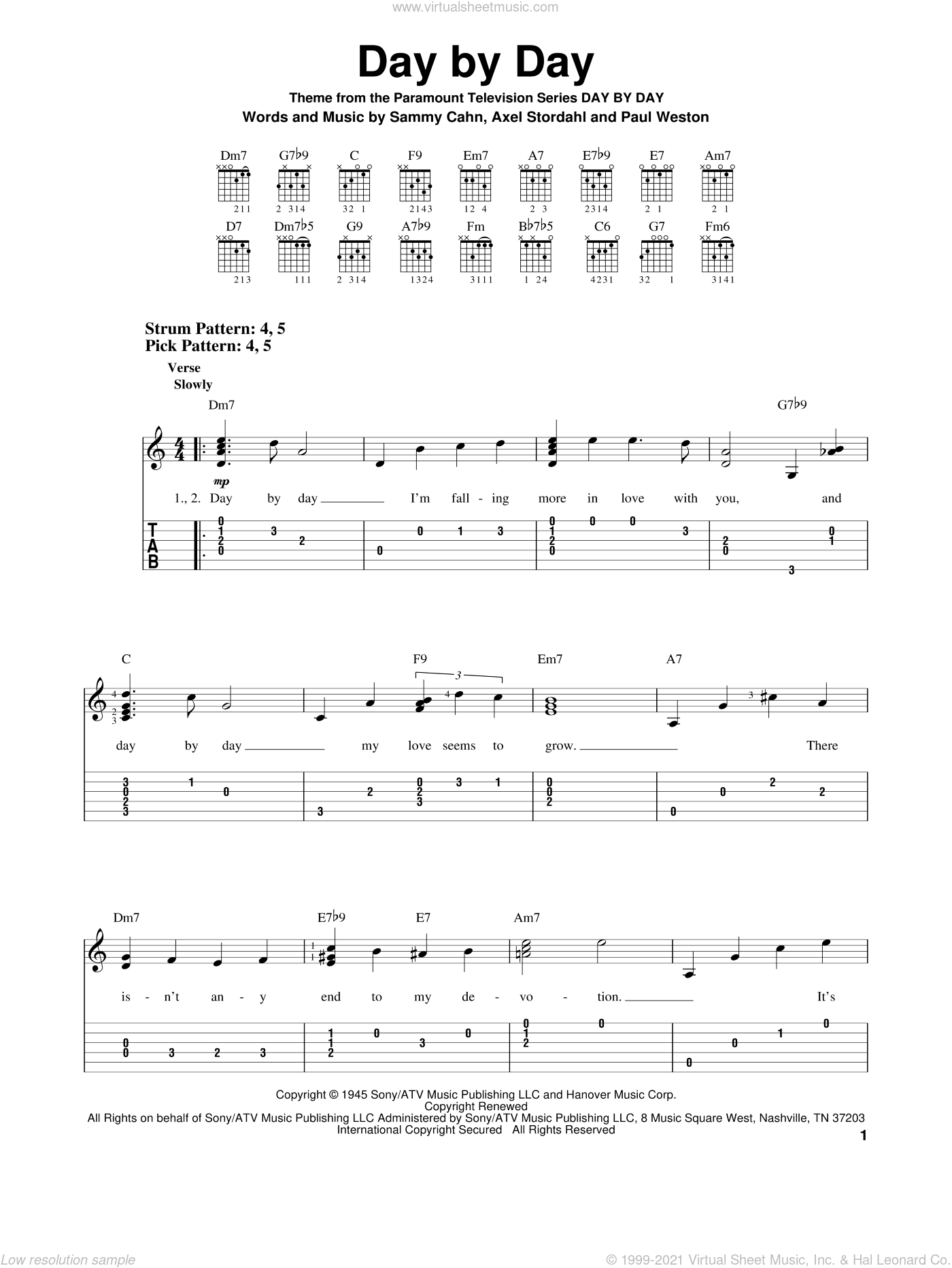 Day By Day sheet music for guitar solo (easy tablature) by Sammy Cahn, Frank Sinatra, Axel Stordahl and Paul Weston. Score Image Preview.