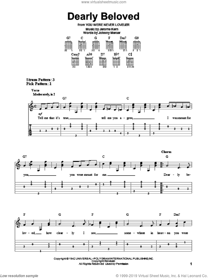 Dearly Beloved sheet music for guitar solo (easy tablature) by Jerome Kern and Johnny Mercer, easy guitar (easy tablature)