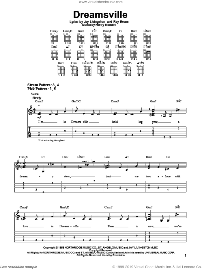 Dreamsville sheet music for guitar solo (easy tablature) by Ray Evans, Henry Mancini and Jay Livingston. Score Image Preview.