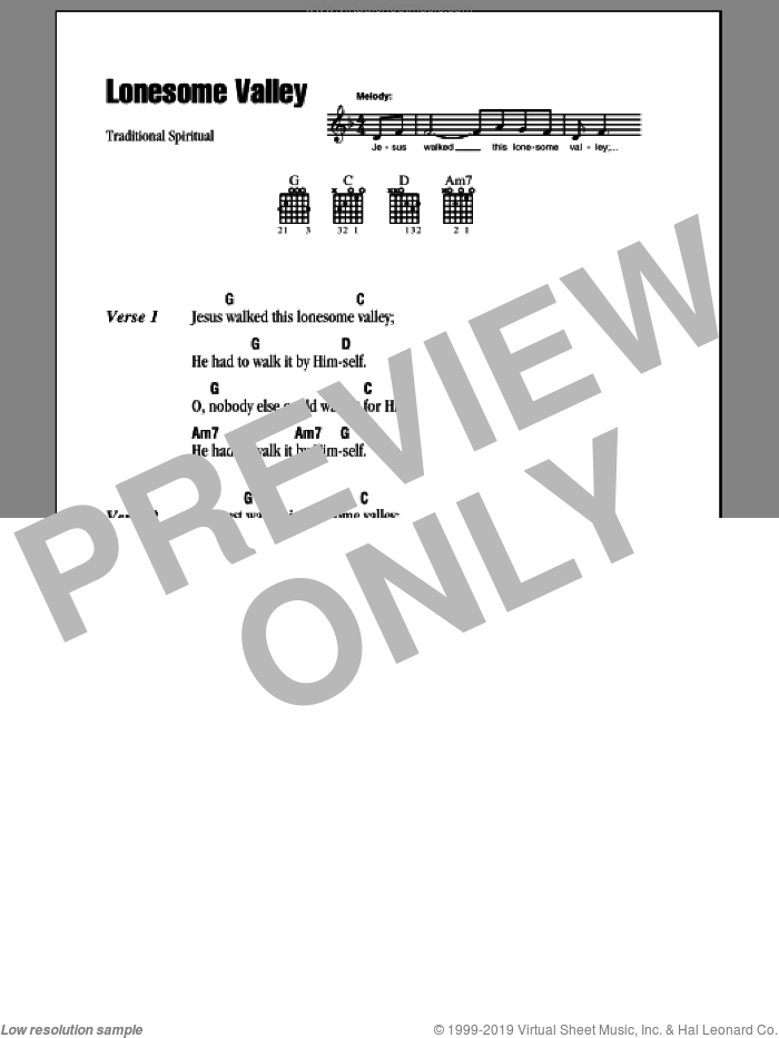 Lonesome Valley sheet music for guitar (chords), intermediate. Score Image Preview.