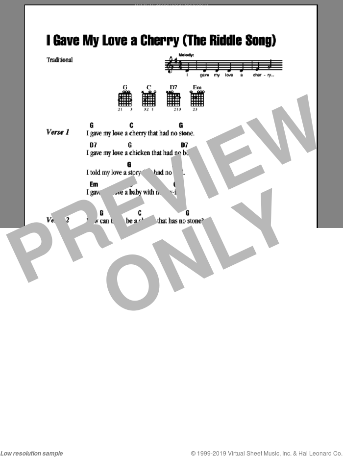 I Gave My Love A Cherry (The Riddle Song) sheet music for guitar (chords)