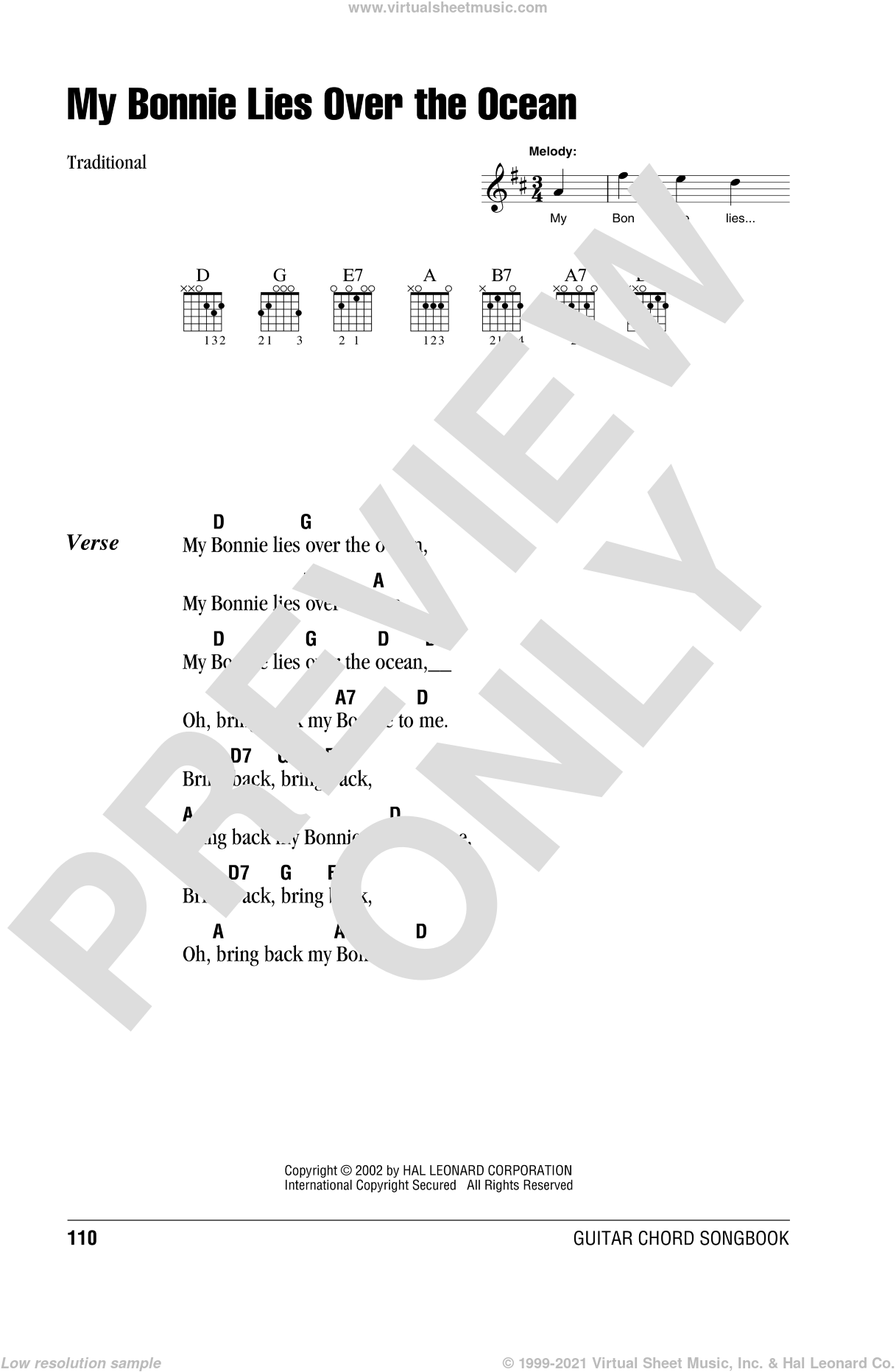 My Bonnie Lies Over The Ocean sheet music for guitar (chords, lyrics, melody)