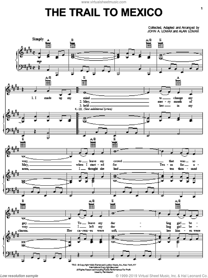 The Trail To Mexico sheet music for voice, piano or guitar by John A. Lomax. Score Image Preview.