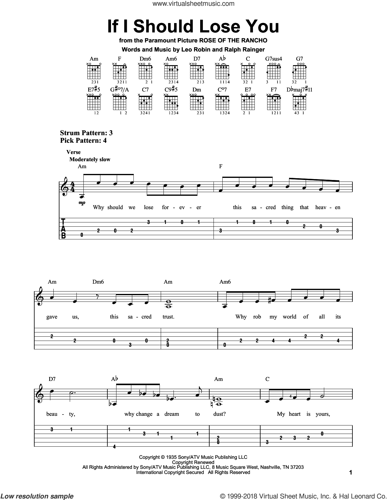 If I Should Lose You sheet music for guitar solo (easy tablature) by Leo Robin and Ralph Rainger. Score Image Preview.