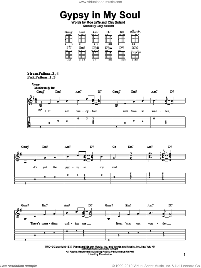 Gypsy In My Soul sheet music for guitar solo (easy tablature) by Moe Jaffe, Ella Fitzgerald and Clay Boland