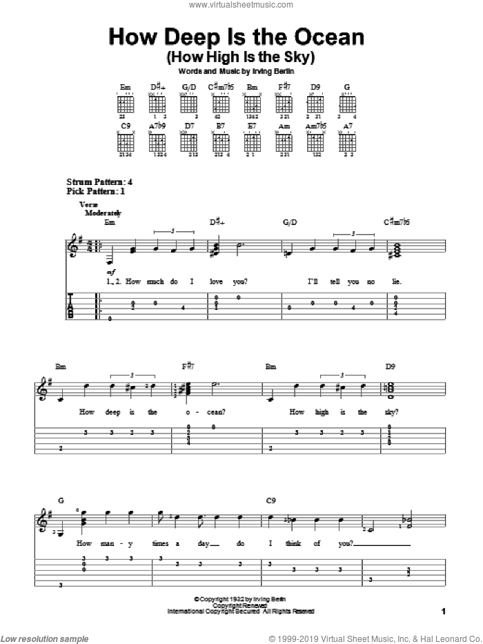 How Deep Is The Ocean (How High Is The Sky) sheet music for guitar solo (easy tablature) by Irving Berlin and Ben Webster, wedding score, easy guitar (easy tablature)