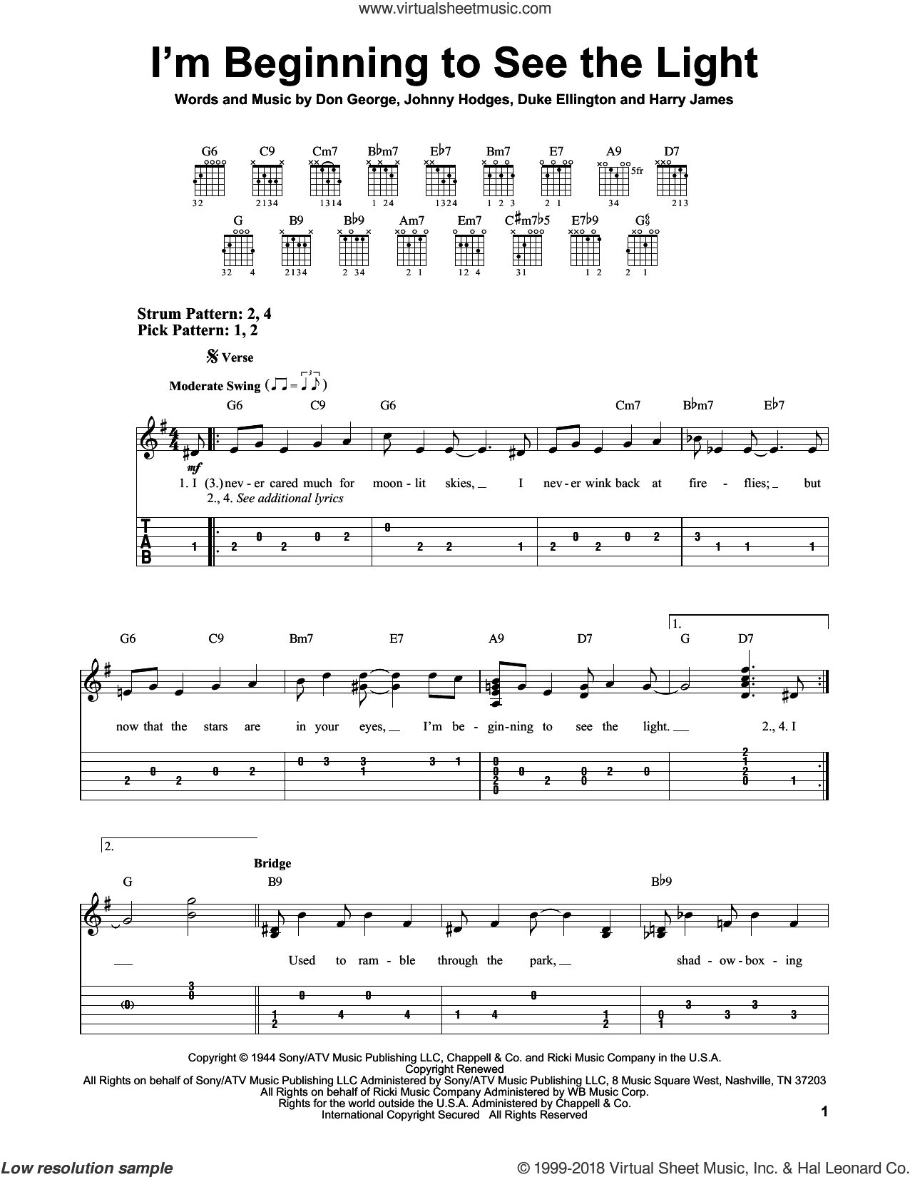 I'm Beginning To See The Light sheet music for guitar solo (easy tablature) by Johnny Hodges