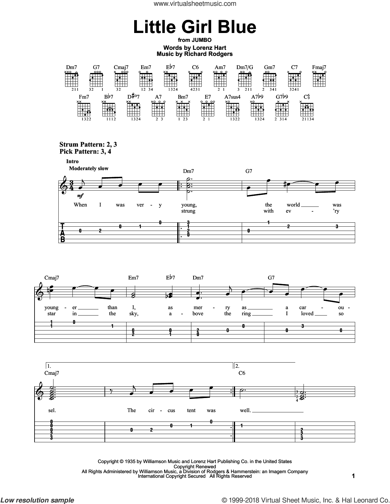 Little Girl Blue sheet music for guitar solo (easy tablature) by Rodgers & Hart, Lorenz Hart and Richard Rodgers, easy guitar (easy tablature)