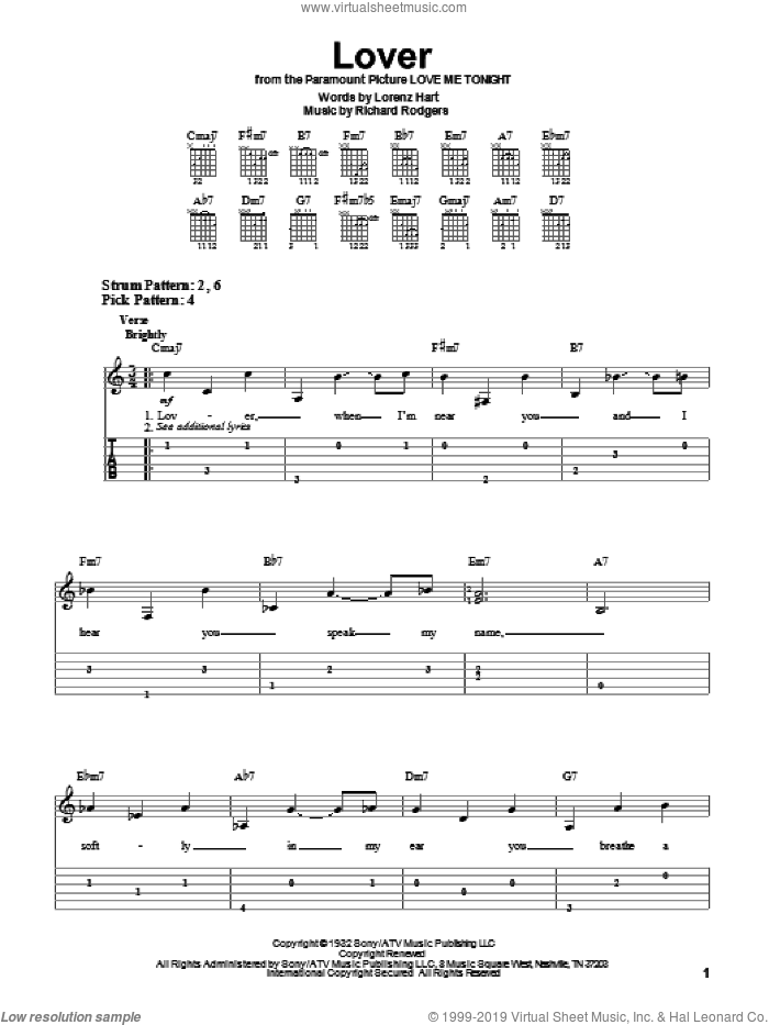 Lover sheet music for guitar solo (easy tablature) by Richard Rodgers, Ella Fitzgerald, Peggy Lee and Lorenz Hart. Score Image Preview.